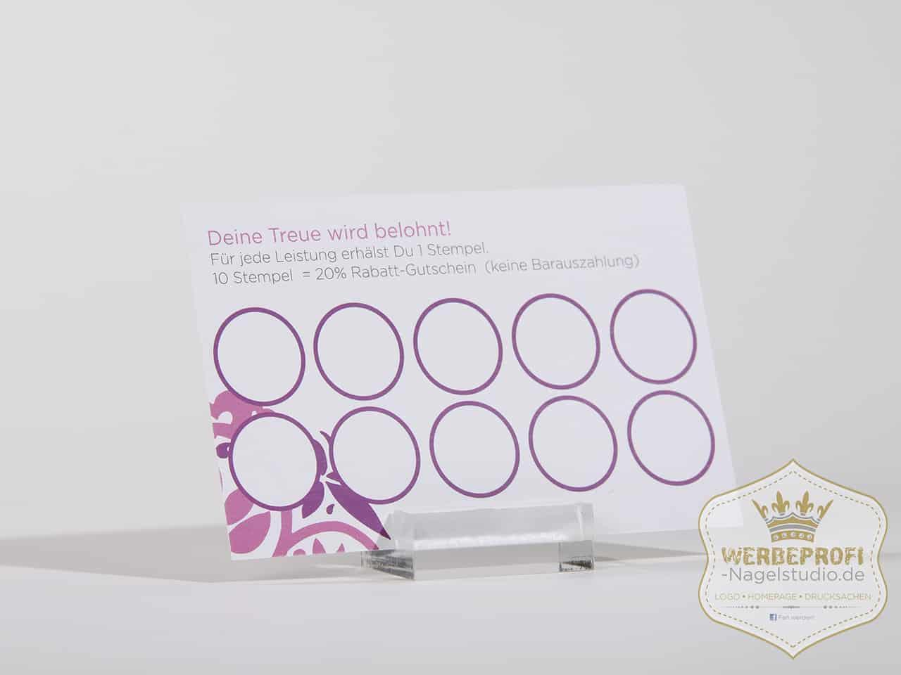 Gutscheine Nagelstudio Schild Visitenkarten Bonuskarten